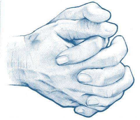 Folded hands drawing prayer
